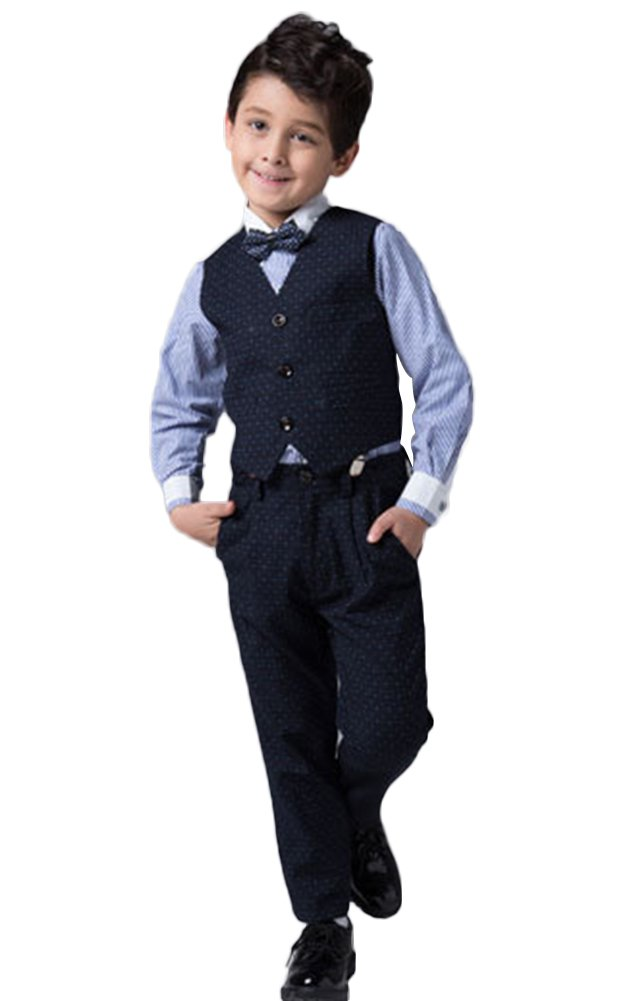 ICEGREY Boys' Boys Formal Dress Suit Set Special Occasion Clothing With Vest Suits, Bow Tie Blue, 5-6 Years by ICEGREY