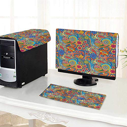Auraisehome Computer dust Cover Collection Colorful Paisley Floral Pattern Classical Ornamental Medieval Ethnic Art Blue Y dust Cover 3 Pieces Set /20