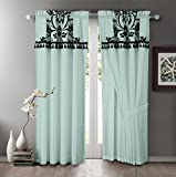 Chezmoi 2 Panel Aqua Blue and Black Floral Window Curtain/Drape Set with Valance-Treatment Drapery