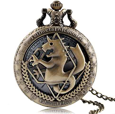 Vintage Pocket Watch, Fullmetal Alchemist Bronze Horse Pocket Watches for Boys Girls, Hollow Quartz Pocket Watch Gift