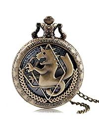 Vintage Pocket Watch, Fullmetal Alchemist Bronze Horse Pocket Watches for Boys Girls, Hollow Quartz Pocket Watch Gift