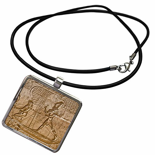 3dRose Danita Delimont - Ancient Architecture - Egypt, Edfu, Outer Wall Relief, Sacred funerary barque-AF14 DBR0170 - Dave Bartruff - Necklace with Rectangle Pendant ()
