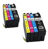 Colour-Store Remanufactured T802 Ink Cartridges for WorkForce Pro WF-4720 WF-4730 WF-4734 WF-4740 Printers (2 Black, 2 Magenta, 2 Cyan, 2 Yellow 8PK)