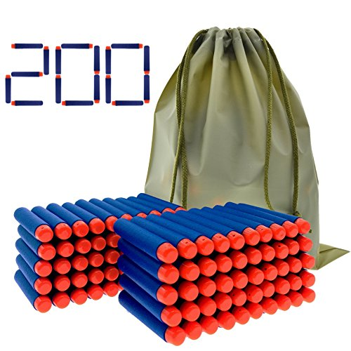 Nerf Micro Darts (Coodoo Nerf Compatible Darts 200 PCS Refill Pack Bullets for Nerf N-Strike Elite Series Blasters Toy Gun - Blue with Storage Bag)
