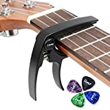Ukulele Capo Alumium Alloy for Uke Soprano Concert Tenor Baritone Light Weight Ukulele Clamp with 4 Free Guitar Picks (Black)