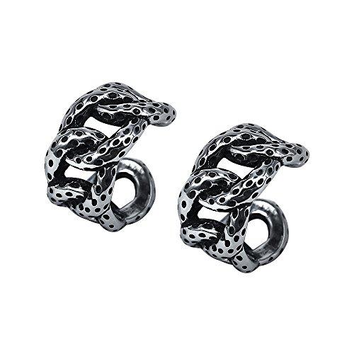 - Vintage Stainless Steel Ear Cuff Earring No Piercing Cartilage Clip on Earrings Gothic Punk Earring Hoop (Chain)
