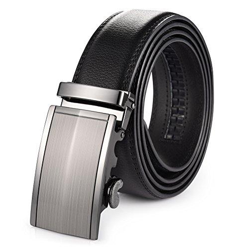 Vbiger Men's Leather Belt Sliding Buckle 35mm Ratchet Bel...