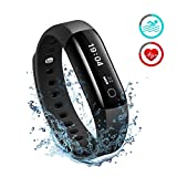 Fitness Tracker [ Updated Version ]Mpow IP68 Waterproof Heart Rate Monitor, Smart Bracelet, Swimming Fitness Wristband Health Tracker Activity Tracker Pedometer with Running Mode for Android and iOS Smart Phones