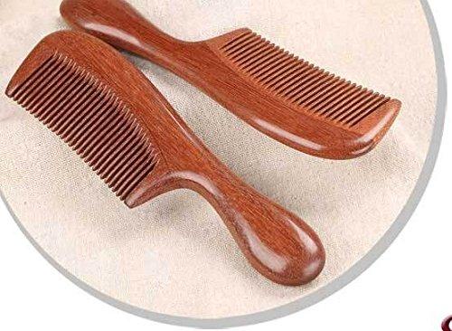 Handgefertigter Haarkamm aus rotem Sandelholz, hohe Qualität, mit Griff, antistatisch, entwirrend, mit natürlichem Aroma für die Haarpflege