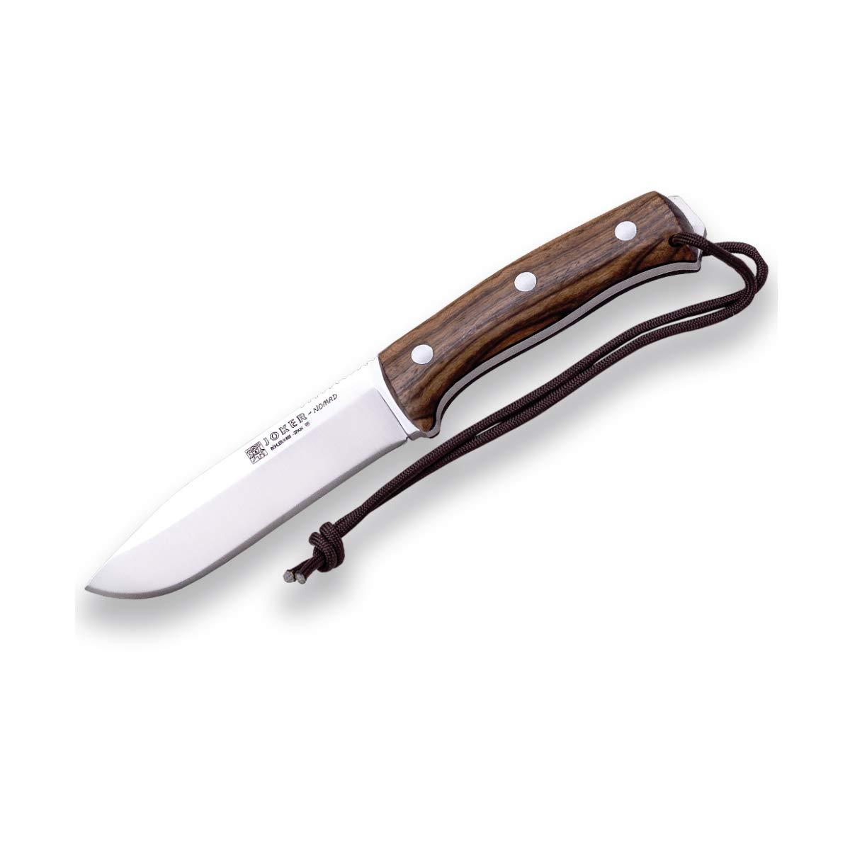 Joker Cuchillo de Caza Nomad CN125-P, 12,7 cm de Hoja, Funda Piel Negra, Mango Nogal, Incluye pedernal, Herramienta de Pesca, Caza, Camping y ...
