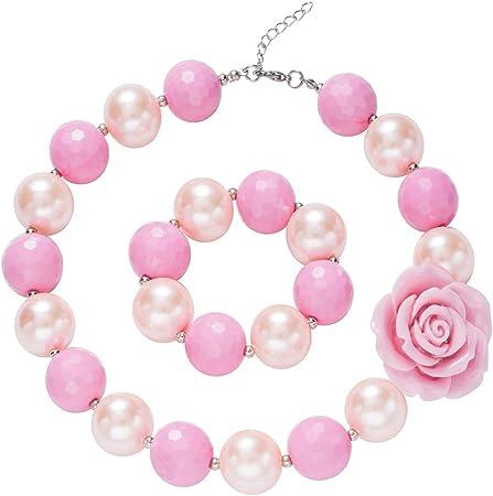 Amazon.com: Juego de collar y pulsera para niñas y niñas ...