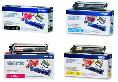 Brother TN-210 Cartridge Set (1 Black, 1 Cyan, 1 Magenta, 1 Yellow)