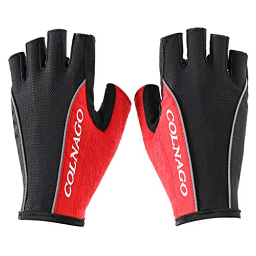 Hontlsen Colnago Cycling Anti-Slip Anti-Sweat Men Women Half Finger Gloves Breathable Anti-Shock Gloves Cycling Gloves red XL