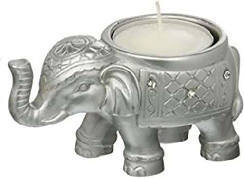 FASHIONCRAFT 8693 Good Luck Silver Indian Elephant Candle Holder