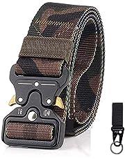 DISPRING Cinturón táctico de para Hombres y Mujeres,Gancho Militar Velcro Incluido,Estilo Militar Correa de Cintura de Nylon de Alta Resistencia Cinturón de Servicio Pesado,Cinturones de Seguridad de Nailon Entrenamiento Cintos de Táctica para Policía al Aire Libre, Caza