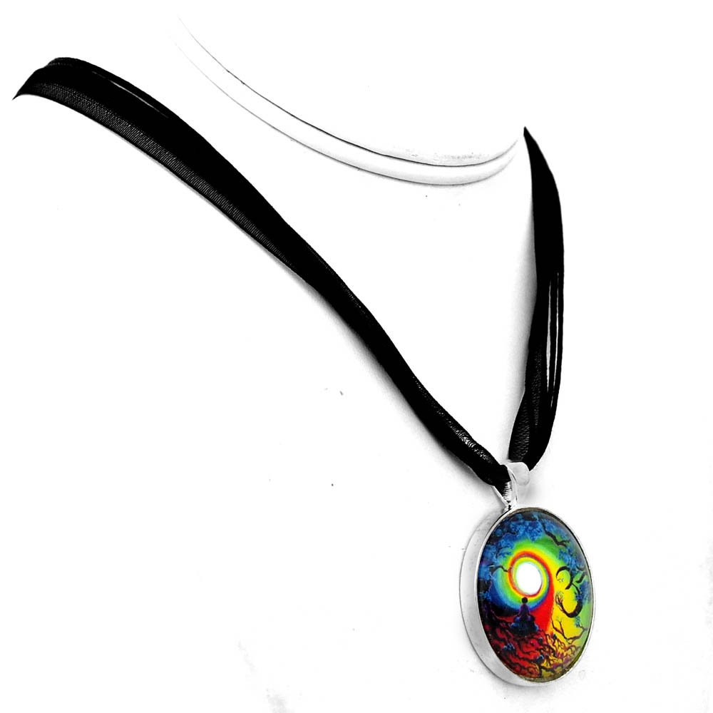 Om Chakra Tree of Life Meditation Handmade Jewelry Necklace (Black Ribbon Necklace) by Laura Milnor Iverson (Image #2)