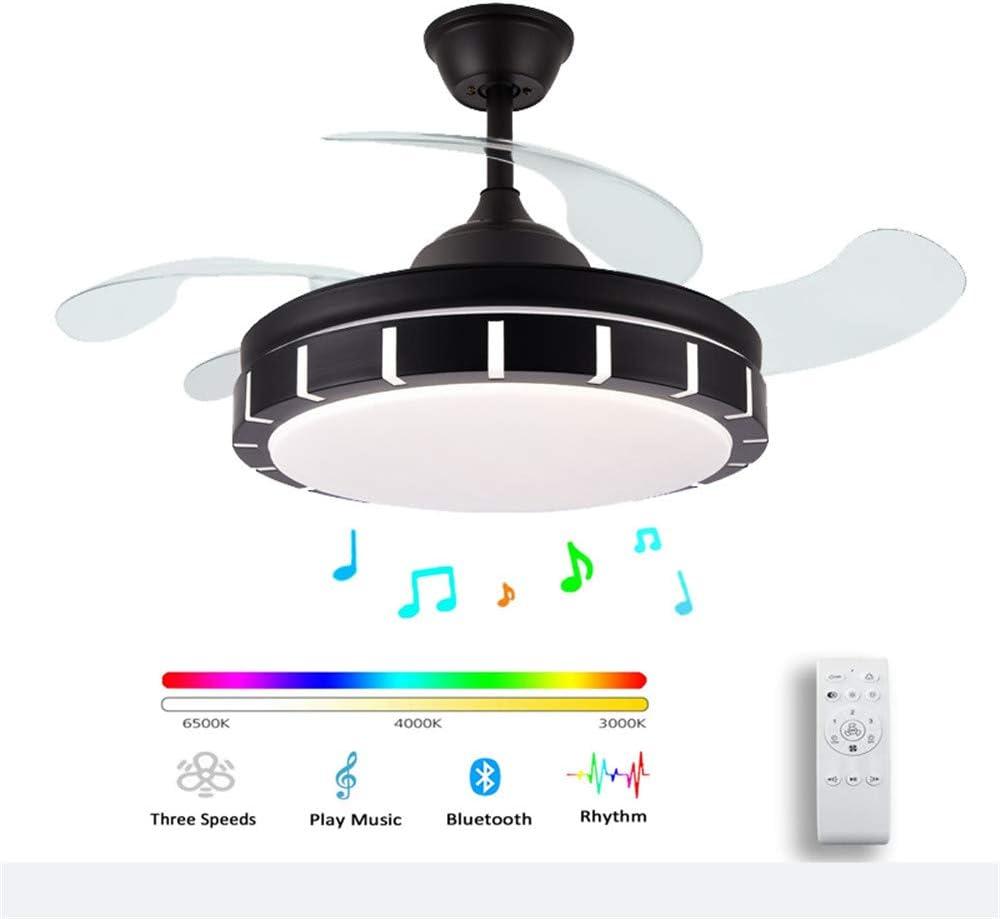 Ventilador De Techo Musical Bluetooth Moderno LED. Lámpara