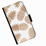 Hairyworm - Brown pineapples Acer Liquid Z220 leather side flip wallet cell phone case, cover with card slots, money slot and magnetic clasp to close.