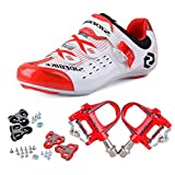 KUKOME Men's Women's Road Cycling shoes & Pedals(WR + Red,EU42/Ft26.5cm)
