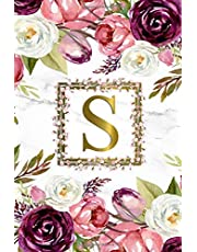 S: Pretty Monogram Initial S Dot Grid Bullet Notebook for Women, Girls & School - Personalized Blank Journal & Diary with Dot Gridded Pages - Watercolor Floral & Grey Marble Print