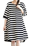 Mordenmiss Women's Daily Pullover Stripes Loose Dresses (L, Black)