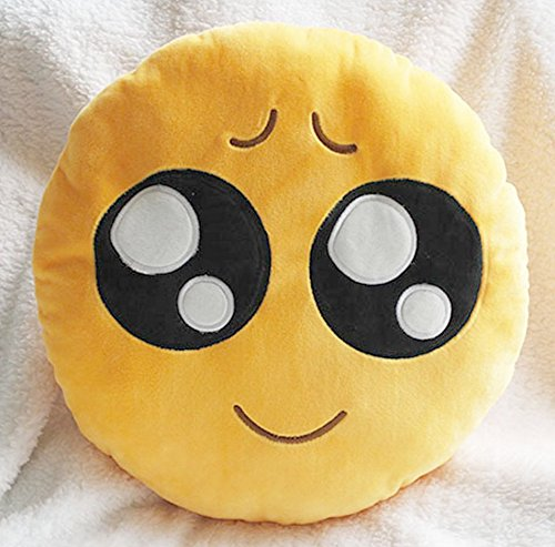 Cute suave Emoji Smiley emoticono amarillo cojín redondo de peluche muñeca almohada, pitiful, pillow