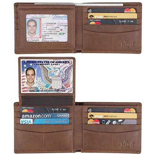 Wallet for Men-Genuine Leather RFID Blocking Bifold Stylish Wallet With 2 ID Window ()