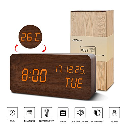 Green Brown Orange - Alarm Clock for Kids---FiBiSonic Wood Digital Clock Small Green Brown&Orange Led Modern Style Clock, Displays Time Date and Temperature-Nice Gifts for the Office and Home