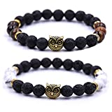 JOYA GIFT Couples His and Hers Bracelets Owl Charm Howlite Beaded Bracelets Set
