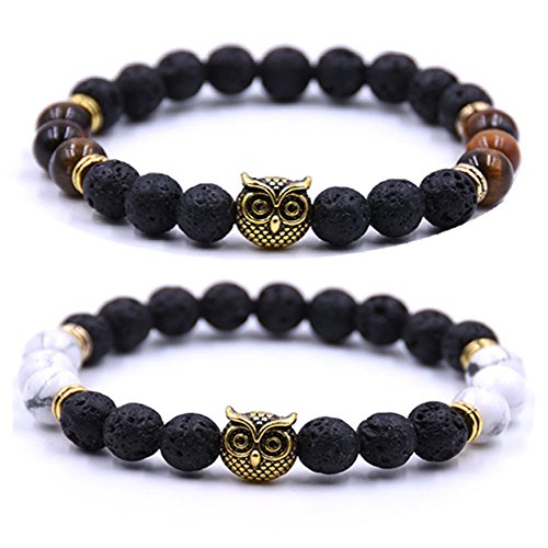 Joya Gift Couples His and Hers Bracelets Owl Charm Howlite Beaded Bracelets Set