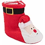 Red Santa Christmas Slipper Boots For Baby Boys or Baby Girls Small 3-6 Months