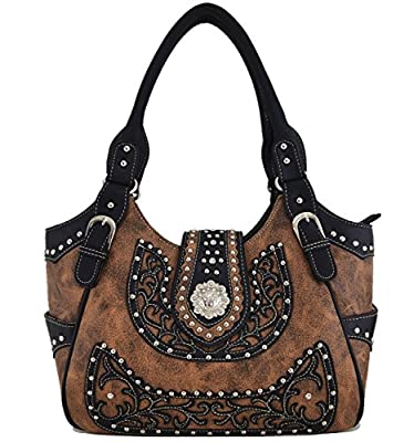 Western Style Cowgirl Belts Buckle Country Purse Crossbody Handbags Womens Shoulder Bags Wallet Set Brown