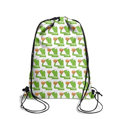 LKUIOJ Funny Green Frog Sipping Tea Custom Drawstring Backpack Tote Sack Travel Storage