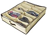 Ziz Home Under Bed Shoe Organizer for Kids and Adults (12 Pairs) – Underbed Shoes Closet Storage Solution - Made of Breathable Materials with Front Zippered Closure – Easy to Assemble