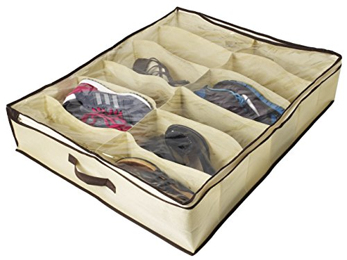 ZizHome Under Bed Shoe Organizer for Kids and Adults (12 Pairs ) – Underbed Shoes Closet Storage Solution - Made of Breathable Materials with Front Zippered Closure – Easy to (Iris Plastic Mold)