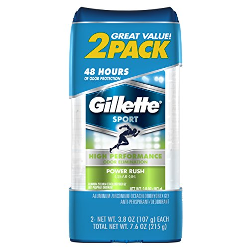 Gillette Sport High Performance Antiperspirant / Deodorant, Power Rush Clear Gel, 3.8 Ounce (Twin Pack)