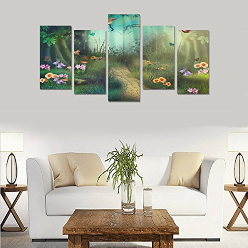 Custom Custom Oil Painting Print Dream Forest Path Canvas Print Bedroom Wall Canvas Decoration Hotel Fashion Design Wall Art 5 Piece Oil Paintings Canvas (No Frame) by sentufuzhuang Canvas Printing