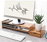 Do4U Bamboo Monitor Stand Computer Riser with 2-Tier Desktop Storage Desk Organizer for Home Office Natural (Bamboo Monitor A)