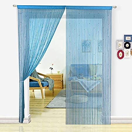 Hsylym Spaghetti Beaded String Door Curtains With Pearl Beads Dense
