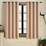 Alice Brown Solid Thermal Insulated Blackout Window Curtains/Draperies/Panels for Bedroom/Living Room/Sliding glass doors Top Fation Grommet by (2 Panel,W52 x L63 –Inch,Beige) Review