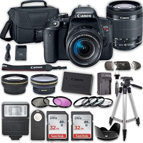 Canon EOS T7i DSLR Camera with 18-55mm IS STM Lens + 2 x 32GB Card + Accessory Kit (Best Dslr Camera Company)
