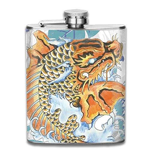Koi Dragon Tattoo Fashion Portable Stainless Steel Hip Flask Whiskey Bottle Men Women 7 Oz ()