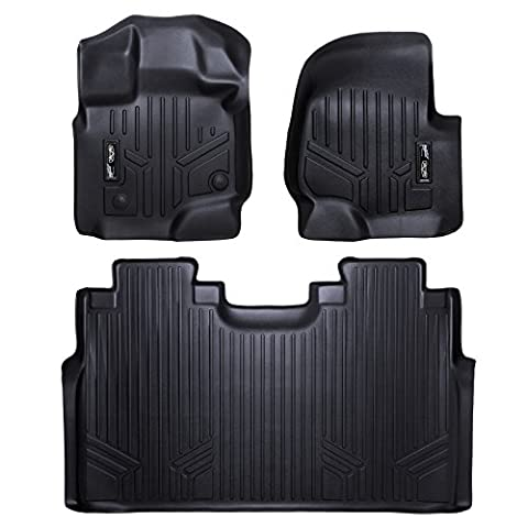 MAXFLOORMAT Floor Mats for Ford F-150 SuperCrew With Front Bucket Seats (2015-2017) Complete Set - Ford Vehicle Accessories