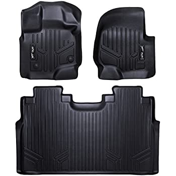 MAXFLOORMAT Floor Mats 2 Row Set Black for 2015-2018 Ford F-150 SuperCrew Cab With 1st Row Bucket Seats