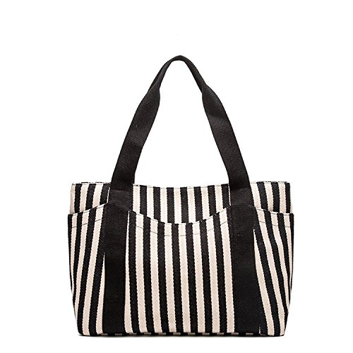(Tote Bags Striped Cotton Heavy Canvas Shoulder Hand Bag for Women,with Outer Pocket (Black))