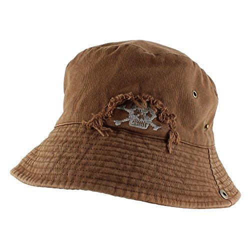 Morehats Vintage Skull Reversible Fishing Packable Casual Bucket Hat - Brown