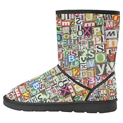 Comfort Multi InterestPrint Digital Boots of Winter Boots Collage Snow Unique Made Clippings Designed 1 Newspaper Womens 6qFwgq4X