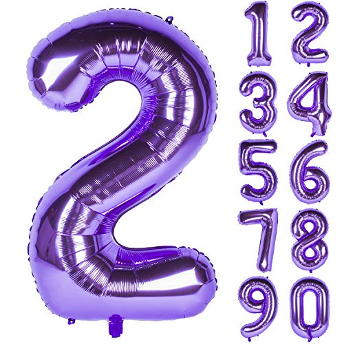 New 40 Inch Purple Digit Helium Foil Birthday Party Balloons Number 2