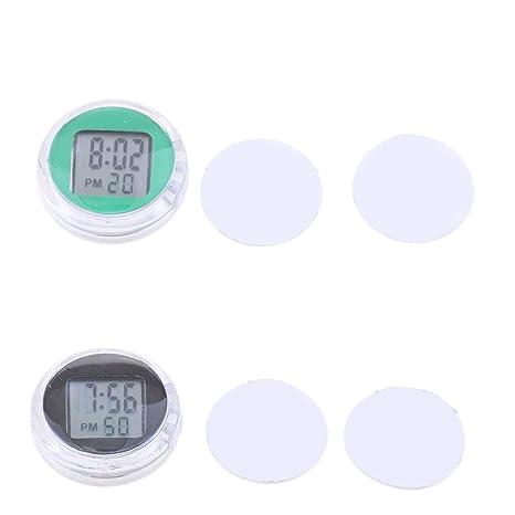 perfk Reloj Digital A Prueba de Agua Multiusos para Motocicleta Universal Negro Verde