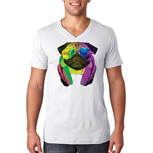 YM Wear Pug Sunglasses with Headphones Galaxy Logo Casual Hipster Men's 100% Cotton V Neck T Shirt 2X-Large - V Logo Sunglasses